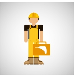 character construction man with tool box drill vector image