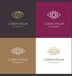 Four linear eye logo vector