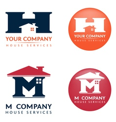 M H house logo vector image
