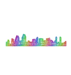 San Diego skyline silhouette - multicolor line art vector image vector image