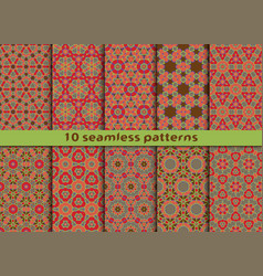 set of ten geometric seamless patterns vector image
