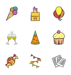 birthday celebration icons set cartoon style vector image