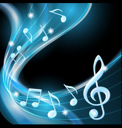 Blue abstract notes music background vector image vector image