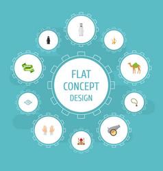 flat icons palm ramadan kareem artillery and vector image vector image