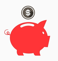 Money Red Pig Bank with Dollar Coin vector image