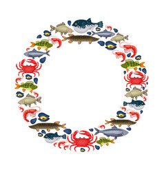 seafood set with crab fish mussel shrimp in vector image