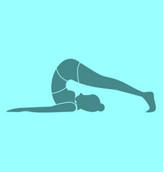 Silhouette of back body stretches pose yoga vector