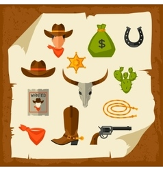 Wild west cowboy objects and design elements vector image