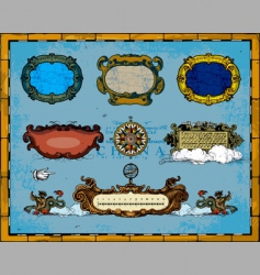antique map frame decorations vector image vector image