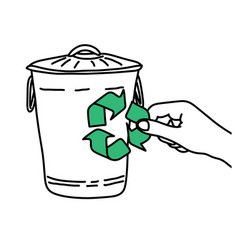 hand holding recycle sign on trash bin vector image