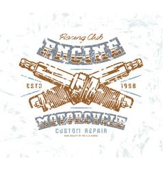 Motorcycle engine repair emblem vector