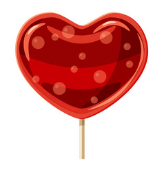 red heart shaped lollipop icon cartoon style vector image