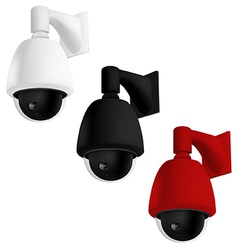 Security camera mounted on wall vector image