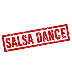 Square grunge red salsa dance stamp vector