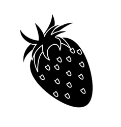 strawberry healthy fruit nature silhouette vector image