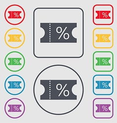 ticket discount icon sign Symbols on the Round and vector image vector image
