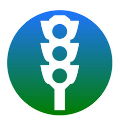 traffic light sign white icon in bluish vector image