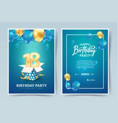 18th years birthday invitation double card vector