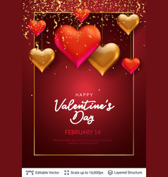 3d hearts and luxurious golden frame on red vector