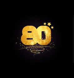 80 number icon design with golden star and glitter vector image