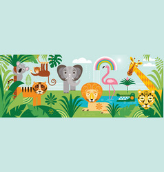 animals in tropical forest vector image