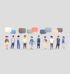 Asian men women group chat bubble communication vector