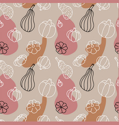 Autumn pumpkins seamless pattern hand drawn vector
