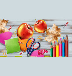 back to school banner sale school supplies vector image