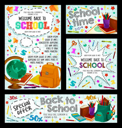 Back to school poster for education sale design vector