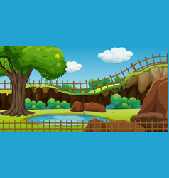 Background scene park with pond and fence vector