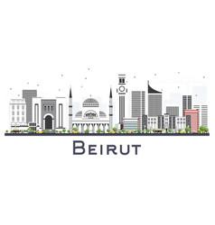 beirut lebanon city skyline with gray buildings vector image