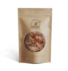 blank brown paper bag with coffee beans in vector image