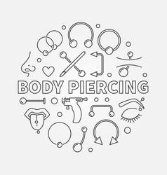 Body piercing round in thin vector