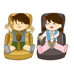 Boy and girl sitting on car seat wearing seat belt vector