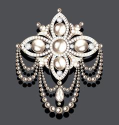 Brooch vintage with precious stones and pearls vector