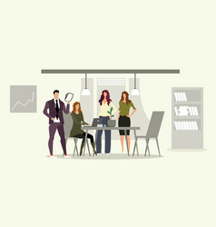 businesspeople team with female boss at workplace vector image
