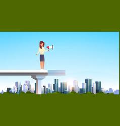 Businesswoman announcer holding loudspeaker vector