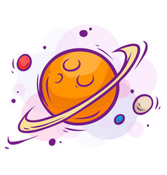 Cartoon space with saturn and planets vector