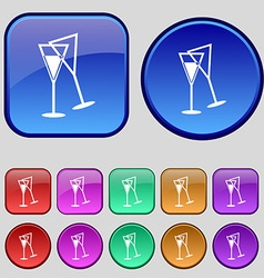 champagne glass icon sign A set of twelve vintage vector image