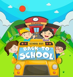 Children riding on school bus vector