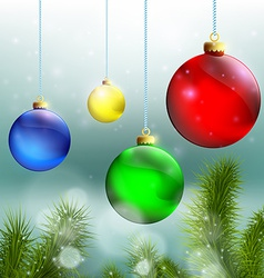 christmas balls and tree on a background vector image