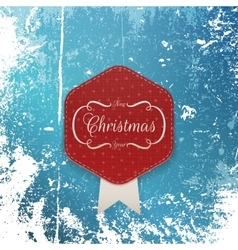 Christmas greeting paper Label and white Ribbon vector image