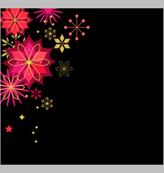 classic black xmas background with flowers vector image