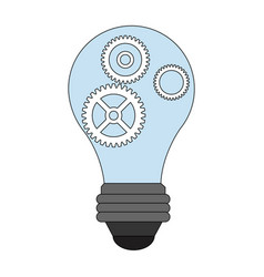 color image light bulb with gears and pinions vector image