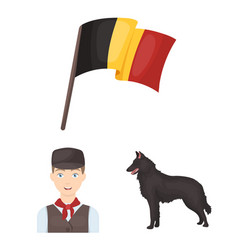 Country belgium cartoon icons in set collection vector