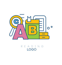 Creative hobby logo template reading concept vector