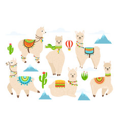 cute alpaca and llama wit mountains vector image