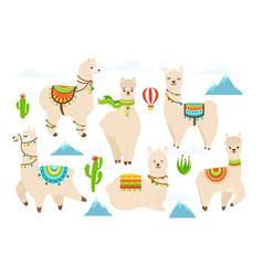 cute alpaca and llama witn mountains vector image