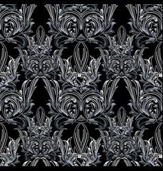 damask floral seamless pattern black white vector image