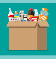 different pills and bottles in cardboard box vector image